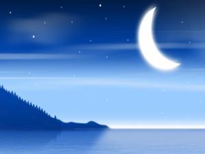 Luna y estrellas sobre el agua