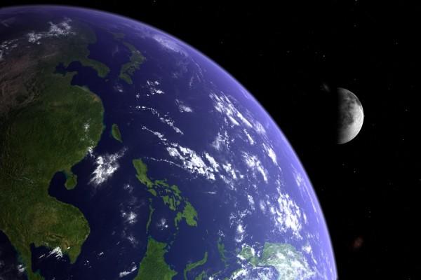 El planeta Tierra y la Luna