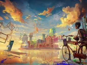 Postal: Ciudad de colores
