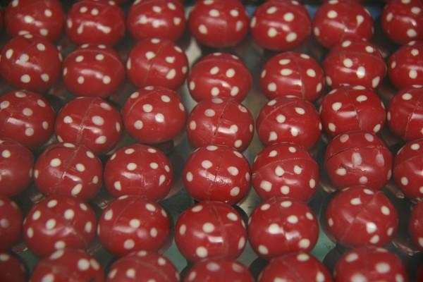 Bombones rojos con lunares blancos