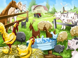 Postal: Granja con animales