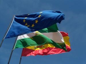 Postal: Banderas de Europa, Andalucía y España