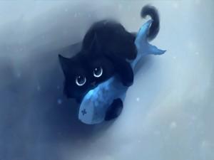 Gatito atrapó a un pez