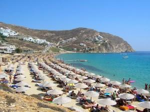Postal: Playa en la isla griega de Mykonos