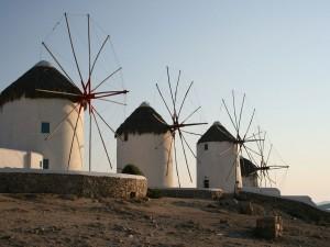 Molinos de viento en Grecia