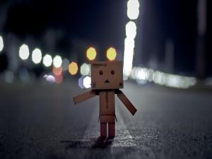 Danbo solo en una carretera
