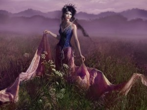 Postal: La dama de las flores