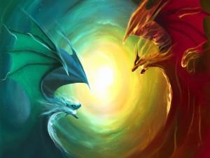 Dragones enfrentados