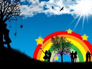 Postal: Parejas junto al arcoiris