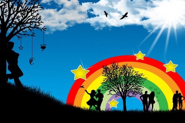 Parejas junto al arcoiris