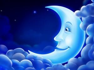 Postal: La luna en su cama de nubes