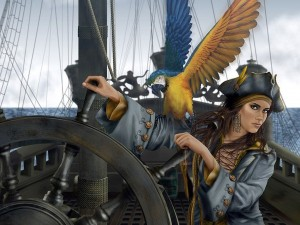 Postal: Mujer pirata