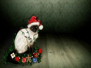 Postal: Gatito navideño