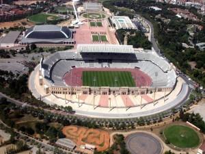 Vista aérea del Estadio Olímpico Lluís Companys