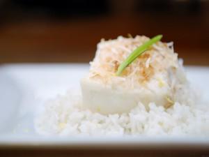 Postal: Pastel de arroz con leche y coco