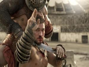 Espartaco pidiendo la rendición en la arena