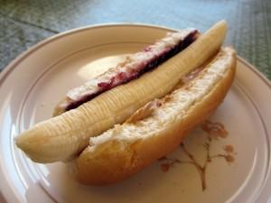 Perrito caliente de plátano