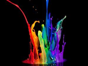 Postal: Pintura de colores