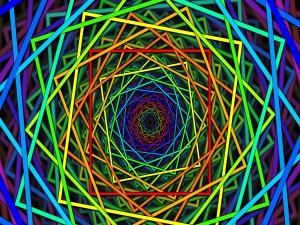 Postal: Cuadrados de colores formando una espiral