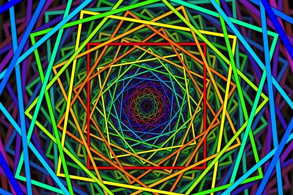 Cuadrados de colores formando una espiral