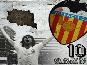 Postal: Mario Alberto Kempes con la camiseta del Valencia C.F.