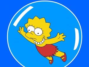 Postal: Lisa Simpson en una burbuja