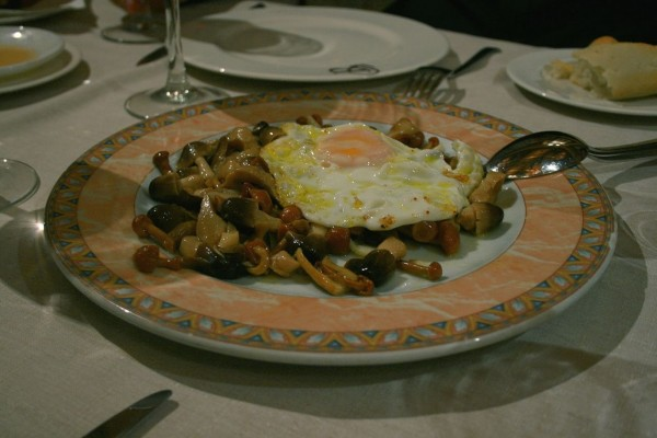 Setas con un huevo frito