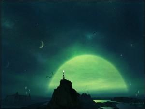 Postal: Noche verde