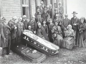 Esqueletos en un entierro