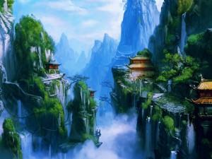 Casas orientales en escarpadas montañas