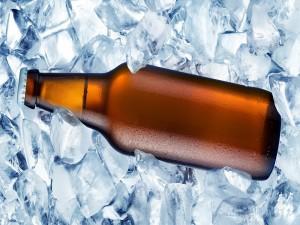 Botella de cerveza con hielos
