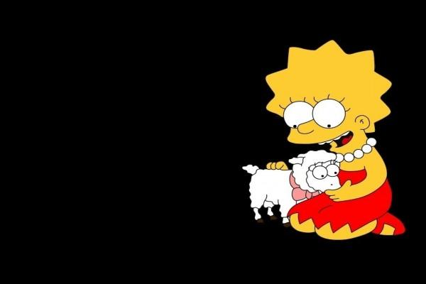 Lisa Simpson con una oveja