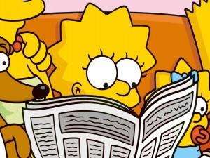 Postal: Lisa Simpson leyendo el periódico