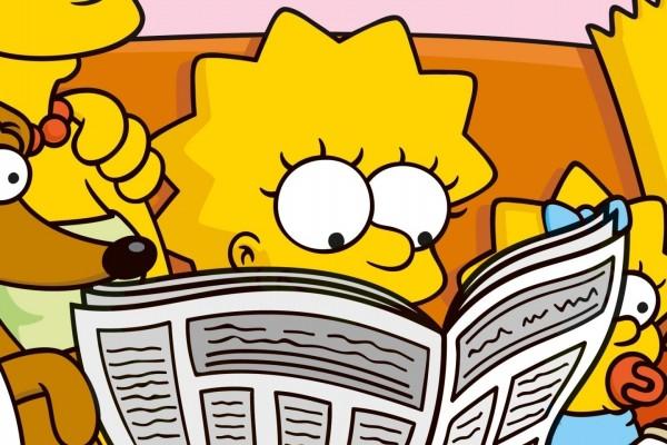 Lisa Simpson leyendo el periódico