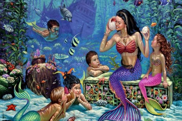 Un colegio de sirenas en el fondo del mar