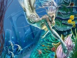 Sirena en el lecho marino