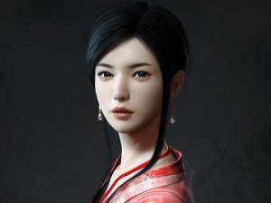 Postal: Muchacha japonesa 3D