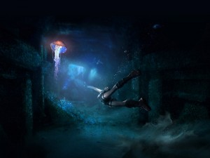Postal: Buceando junto a una gran medusa