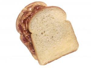 Postal: Rebanadas de pan con mantequilla de cacahuete y mermelada