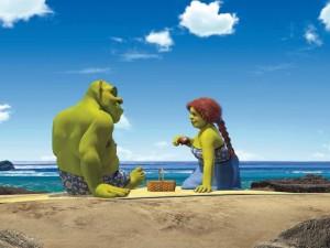 Postal: Shrek y Fiona en la playa