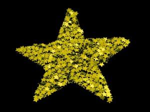 Postal: Estrella grande y dorada formada por estrellas más pequeñas