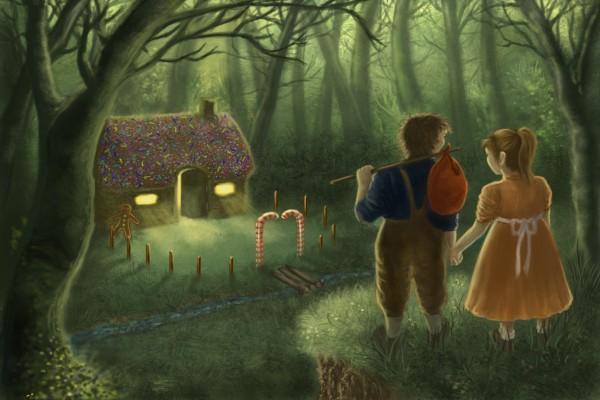 Hansel y Gretel llegando a la casa de caramelo