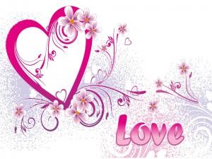 Postal: Corazón, amor y flores