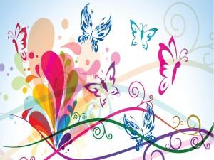 Postal: Mariposas de colores
