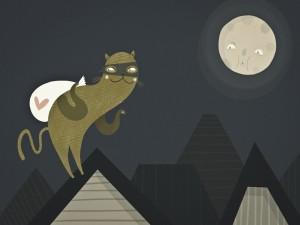 Postal: Gato ladrón vigilado por la luna