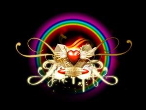 Postal: Arco iris de amor