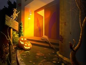Postal: Una puerta abierta en la noche de Halloween