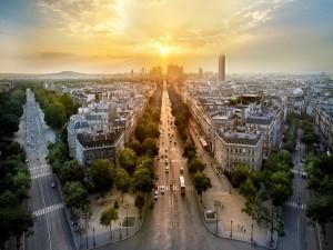 Postal: Puesta de sol en París