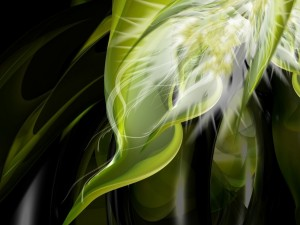 Postal: Formas verdes abstractas