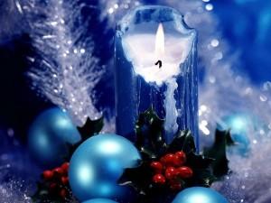 Postal: Vela azul navideña